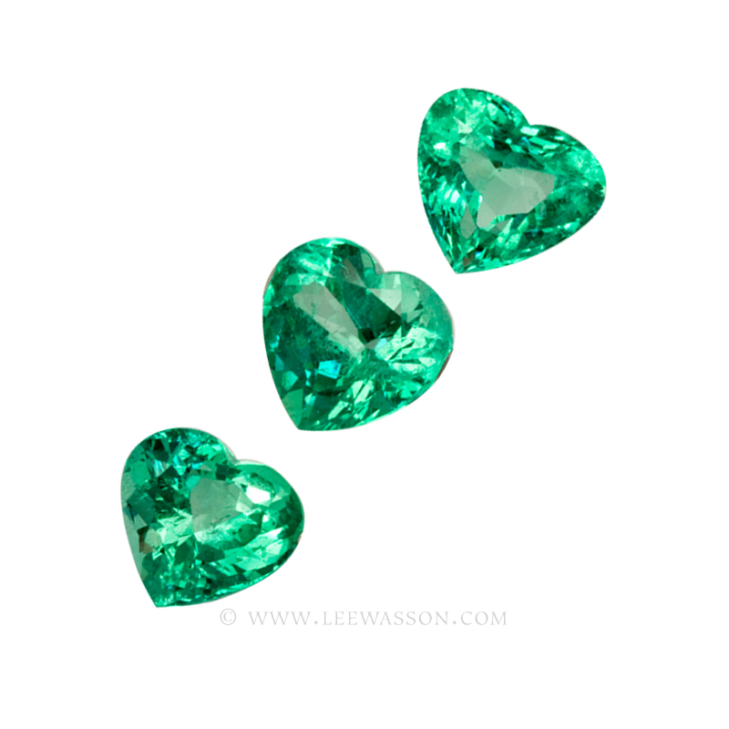 Colombian Emeralds, Trio of Heart Shape Emeralds. leewasson.com - 10053 - 5