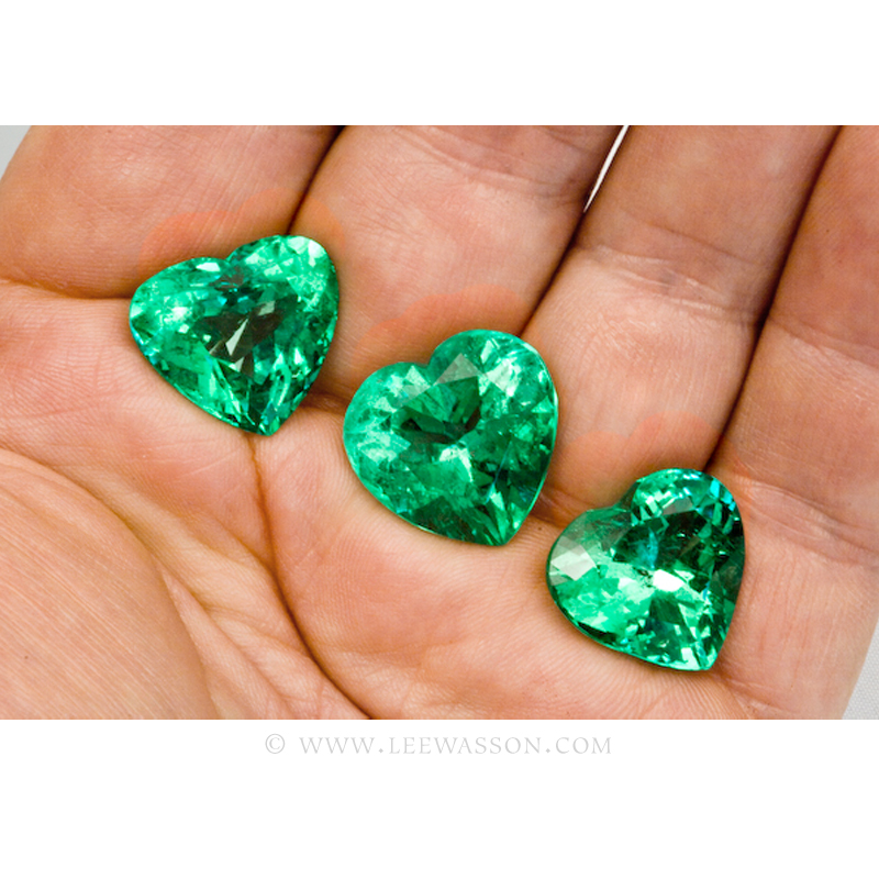 Colombian Emeralds, Trio of Heart Shape Emeralds. leewasson.com - 10053 - 6