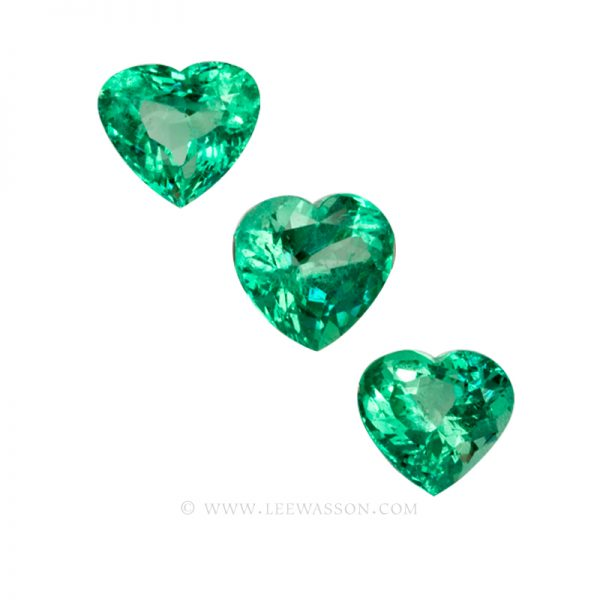 Colombian Emeralds, Trio of Heart Shape Emeralds. Weight 55 Carats. leewasson.com - 10053 - 1