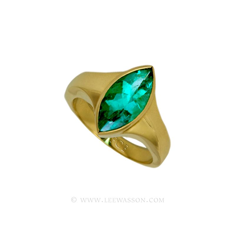 Colombian Emerald Ring, Marquise Cut Emerald Engagement Ring, Yellow Gold Emerald Ring 19436
