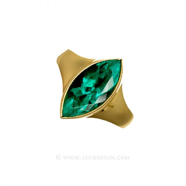 Colombian Emerald Ring, Marquise Cut Emerald, Yellow Gold Ring 19436