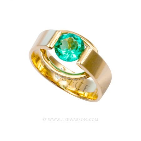 Colombian Emerald Ring, Brilliant cut Emeralds Emgagement Rings in 18k Yellow Gold
