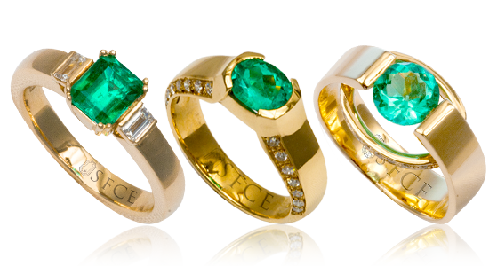 Colombian Emerald Yellow Gold Rings