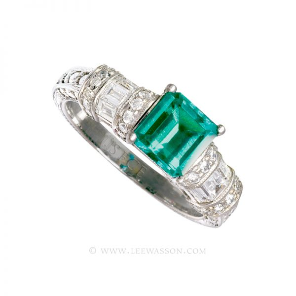 Colombian Emerald Ring, Square cut Emerald set in 18k White Gold 19362