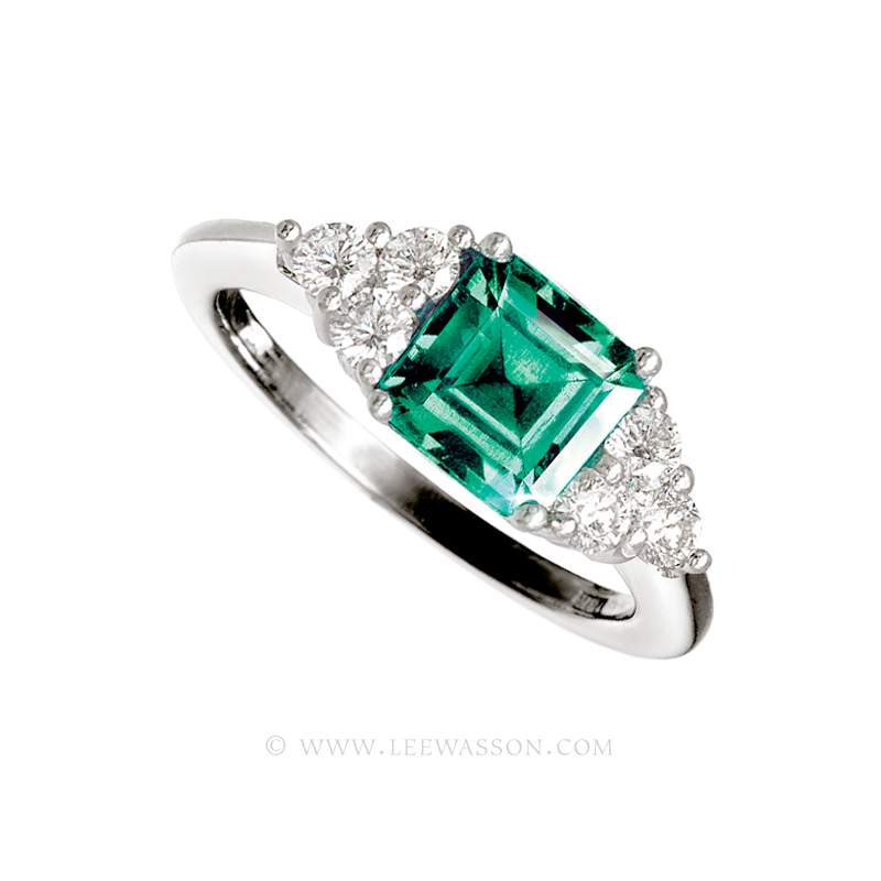 Colombian Emerald Ring, Square cut Emerald set in 18k White Gold