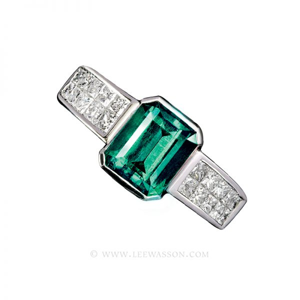 Colombian Emerald Ring, Emerald Cut Emerald Engagement Ring,18k White Gold 19404