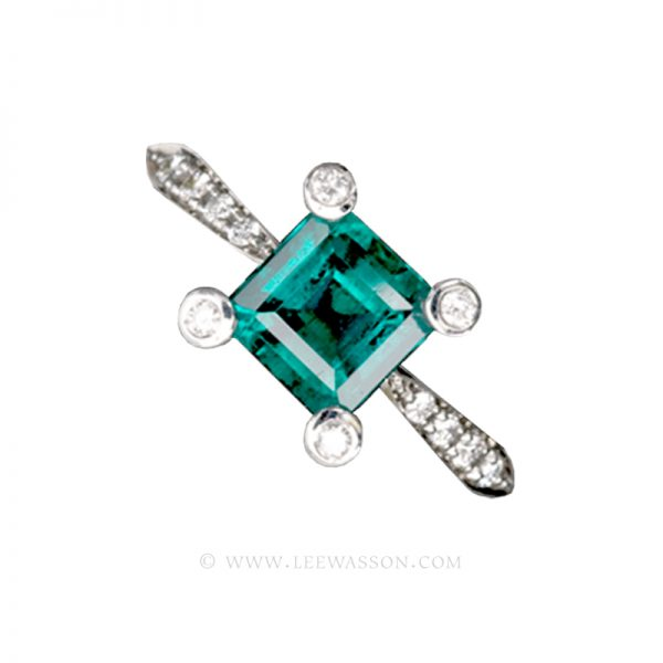 Colombian Emerald Ring, Square cut Emerald set in 18k White Gold 19409