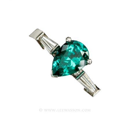 Colombian Emerald Ring, Pear Shape Emerald set in 18k White Gold 19448