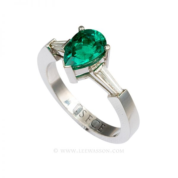 Colombian Emerald Ring, Pear Shape Emerald set in 18k White Gold