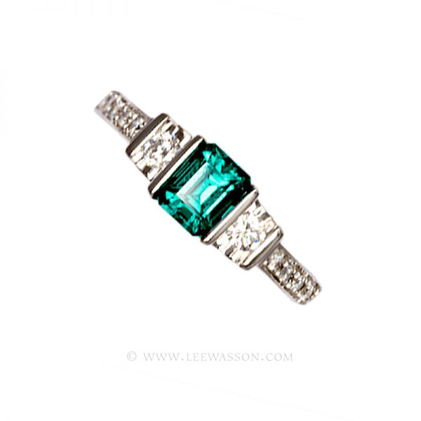 Colombian Emerald Ring, Emerald Cut Emerald set in 18k White Gold 19463