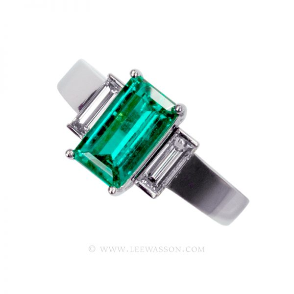 Colombian Emerald Ring, Emerald Cut Emerald set in 18k White Gold 19480