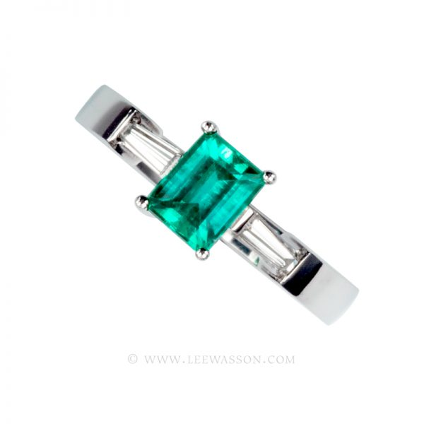 Colombian Emerald Ring, Emerald Cut set in 18k White Gold19485