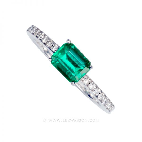 Colombian Emerald Ring, Emerald Cut set in 18k White Gold 19486