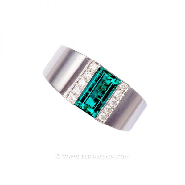Colombian Emerald Ring, Emerald Cut Emerald Engagement Ring,18k White Gold 19493