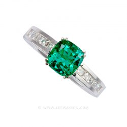 Colombian Emerald Ring, Cushion Cut Emerald set in 18k White Gold