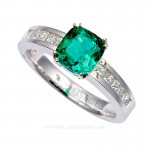 Colombian Emerald Ring, Cushion Cut Emerald set in 18k White Gold 19509