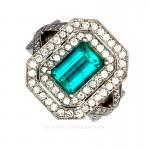 Colombian Emerald Ring, Emerald Cut Emerald set in 18k White Gold