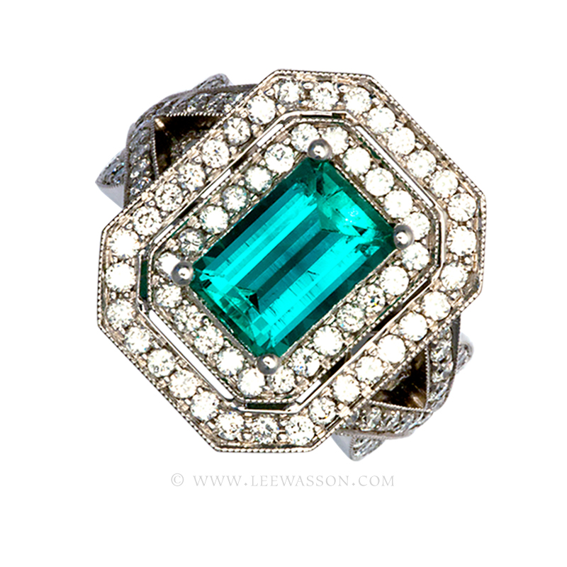 Colombian Emerald Ring, Emerald Cut Emerald set in 18k White Gold
