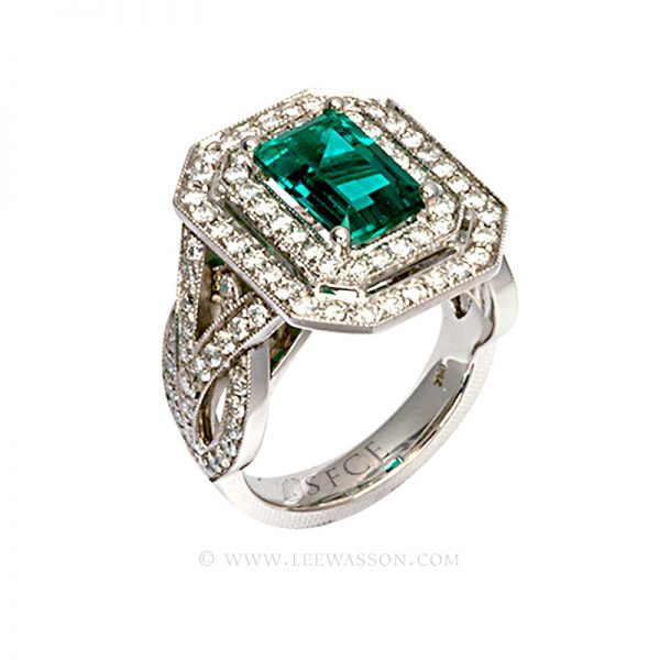 Colombian Emerald Ring, Emerald Cut, White Gold 19548