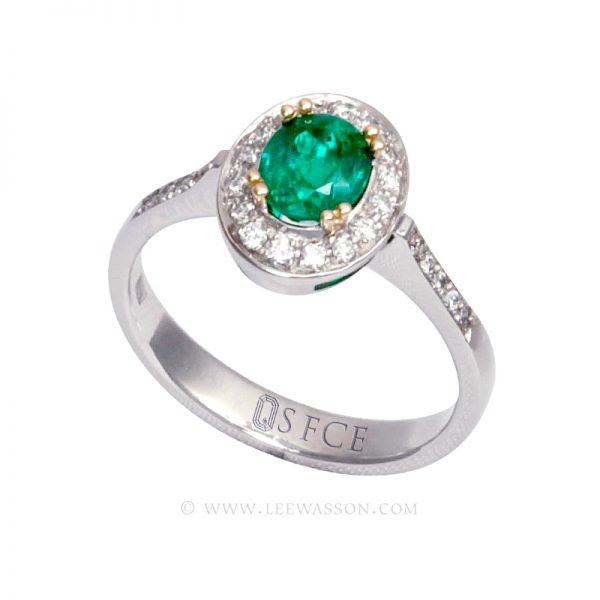 Colombian Emerald Ring, Oval cut Emerald set in 18k White Gold 19561