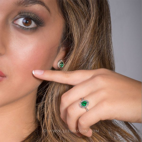 Colombian Emerald Ring, Oval Cut Emerald set in 18k White Gold & Diamonds, Uniquely Matching Emerald Earrings & Emerald Necklace Anniversary Jewelry.