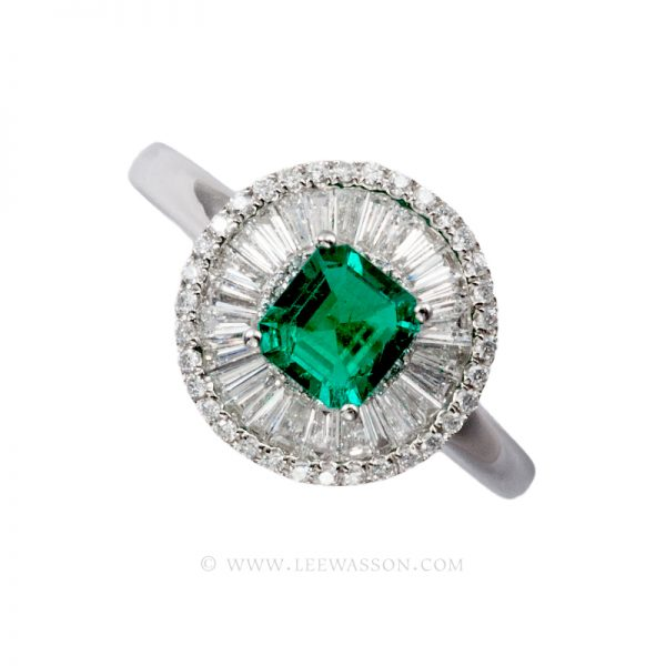 Colombian Emerald Ring, Square cut Emerald set in 18k White Gold 19597