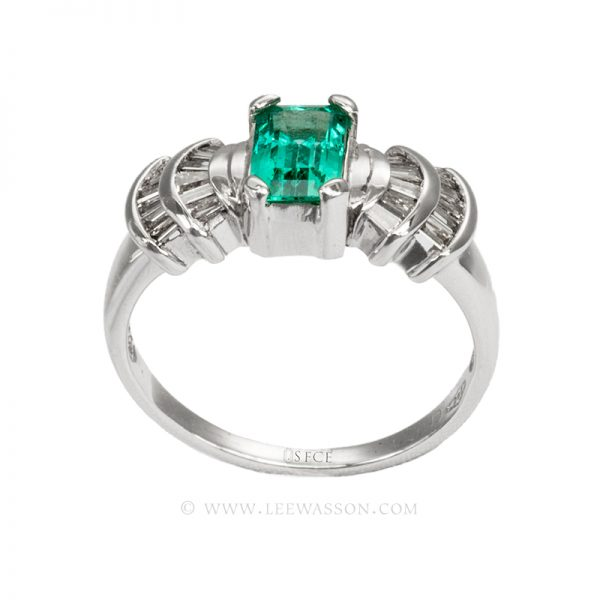 Colombian Emerald Ring, Emerald cut Emerald set in 18k White Gold 19599