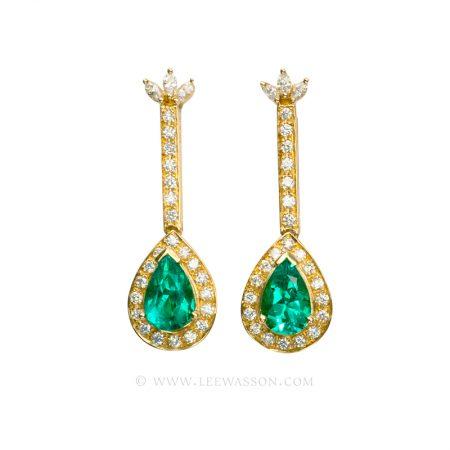 Colombian Emerald Earrings, Dangling Pear shape Emerald Earrings in 18k Yellow Gold