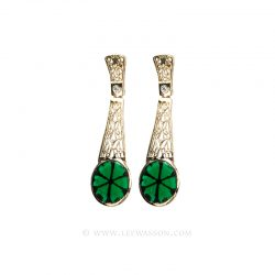 Colombian Emerald Earrings,Trapiche, Yellow Gold 19606