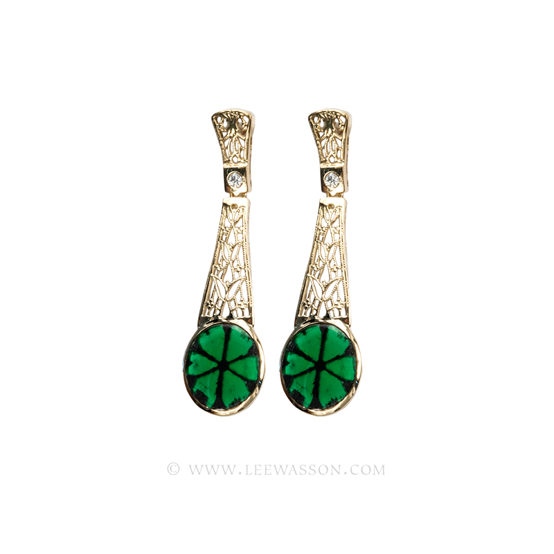 Colombian Emerald Earrings, Natural Trapiche Emeralds 18k Yellow Gold