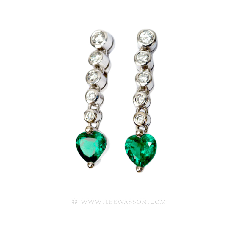Colombian Emerald Earrings, Heart Shape, White Gold 19443