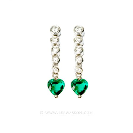 Colombian Emerald Earrings, Heart shape Emeralds set in 18k White Gold