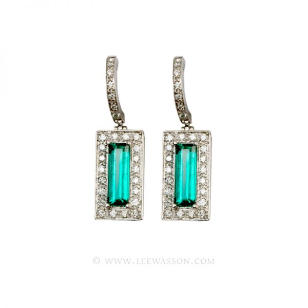Colombian Emerald Earrings, Emerald cut Emeralds set in 18k White Gold 19450