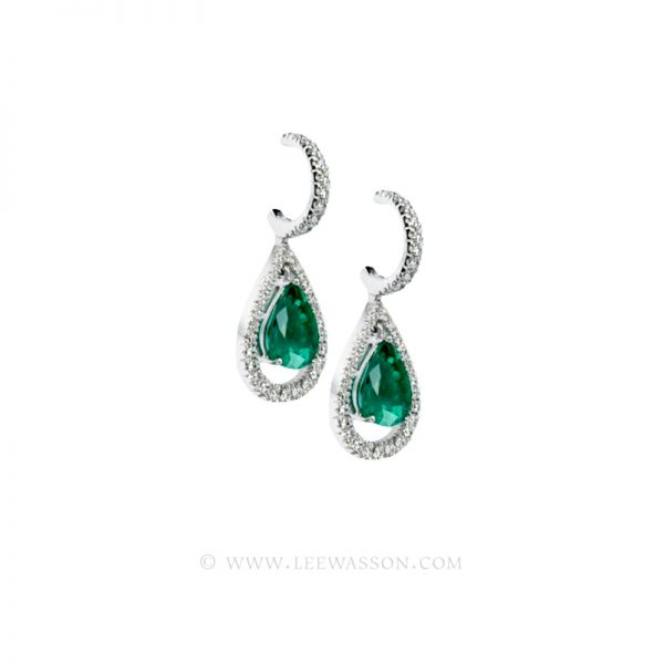Colombian Emerald Earrings, Pearshape, White Gold