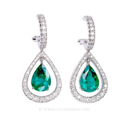 Colombian Emerald Earrings, Pear Shape Emeralds set in 18k White Gold