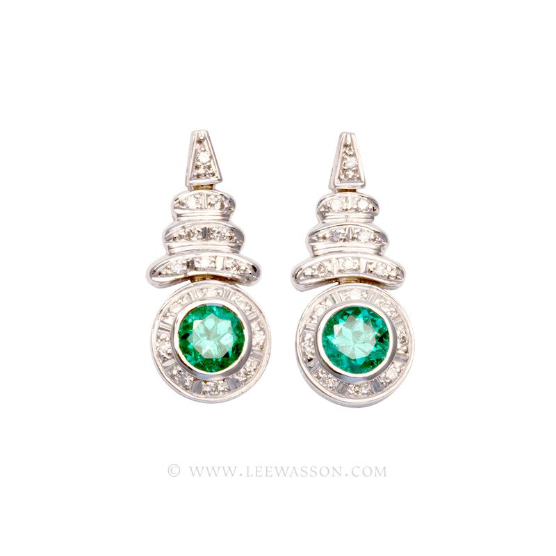 Colombian Emerald Earrings, Brilliant cut Emeralds set in 18k White Gold