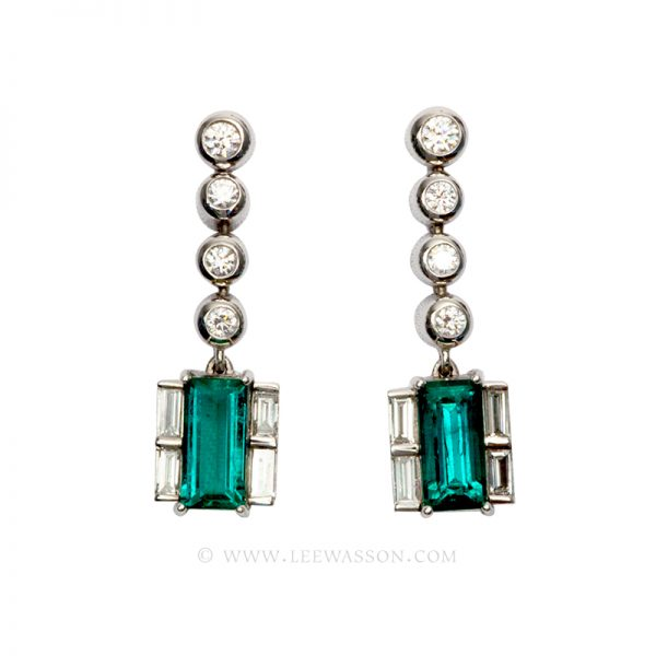 Colombian Emerald Earrings, Emerald cut Emeralds set in 18k White Gold 19538
