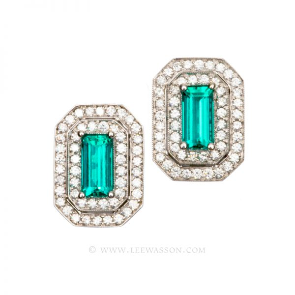 Colombian Emerald Earrings, Emerald cut Emeralds, 18k White Gold, Lee Wasson offers One of a Kind Colombian Emerald Earrings & Emerald Jewelry. 19549