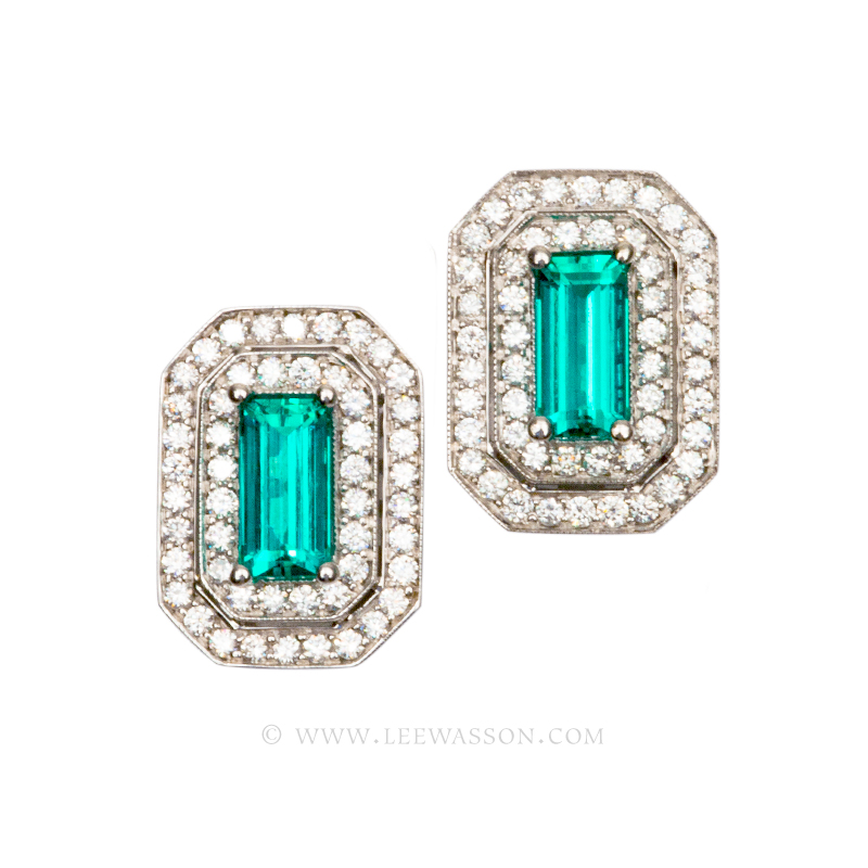 Colombian Emerald Earrings, Pear Shape Emeralds set in 18k White Gold, Lee Wasson offers One of a Kind Colombian Emerald Earrings & Emerald Jewelry.