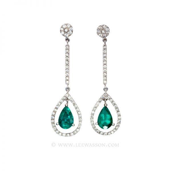 Colombian Emerald Earrings, Pear Shape Emerald Earrings set in 18k White Gold 19555
