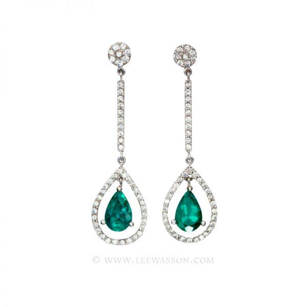 Colombian Emerald Earrings, Pear Shape Emerald Earrings set in 18k White Gold 19555