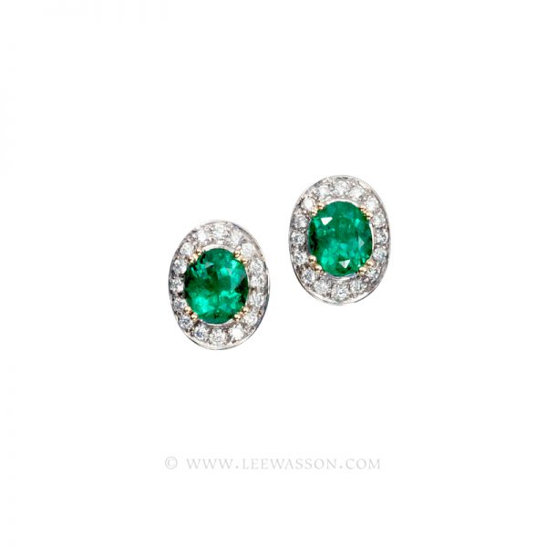 Colombian Emerald Earrings, Oval cut Emerald set in 18k White Gold
