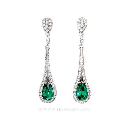 Colombian Emerald Earrings, Pear Shape Emeralds set in 18k White Gold
