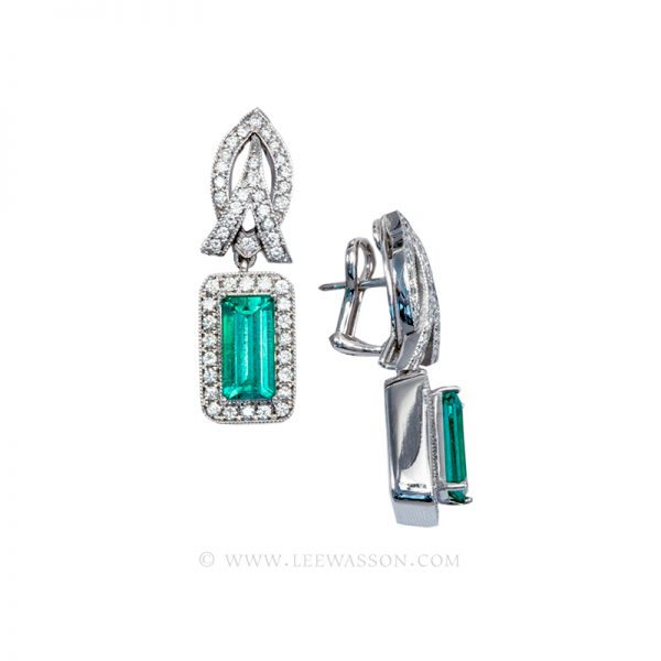 Emerald cut Colombian Emerald White Gold Earrings 19605