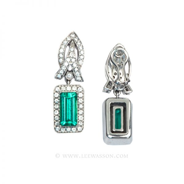 Emerald cut, Colombian Emerald Earrings White Gold 19605