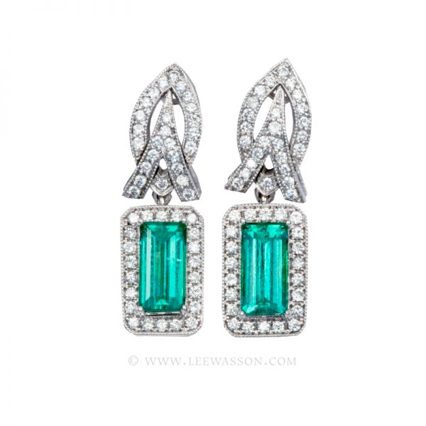 Colombian Emerald Earrings,  Emerald cut Emeralds set in 18k White Gold