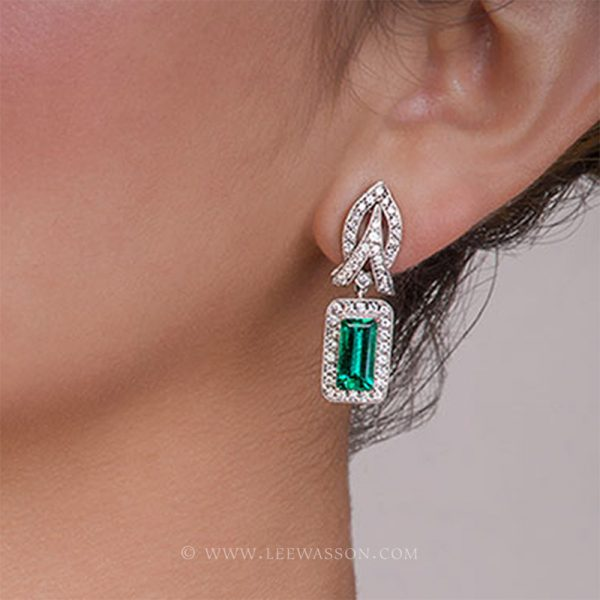 [:en]Lee Wasson´s 19605 Colombian Emerald White Gold Earring[:es]Lee Wasson 19605 Arete Esmeralda Colombiana Oro Blanco
