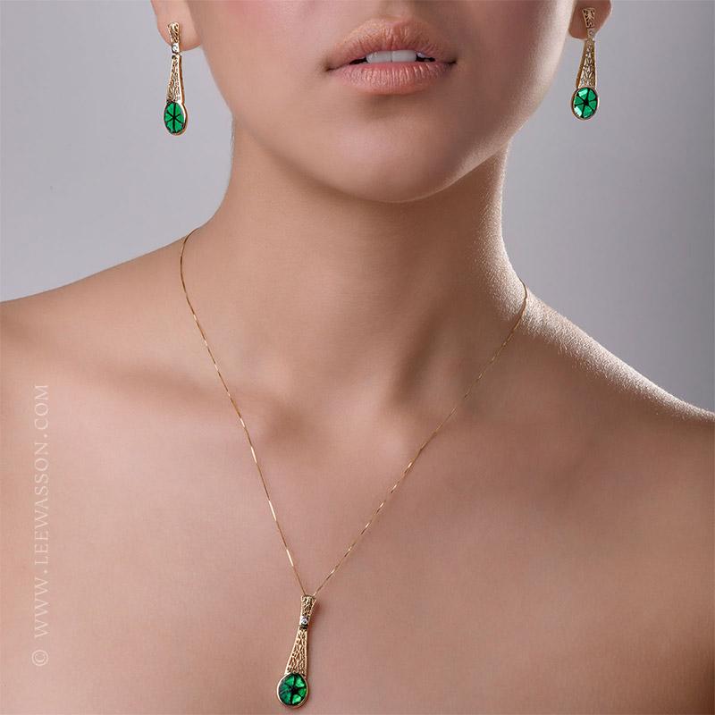 [:en]Lee Wasson´s 19606 Colombian Emerald Trapiche Yellow Gold Earrings[:es]Lee Wasson 19606 Aretes Trapiche Esmeralda Colombiana Oro Amarillo