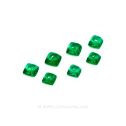 Colombian Emeralds, Sugarloaf cut Emeralds, Set of Sugarloaf cut Emeralds set in 18k White Gold - leewasson.com - 10052