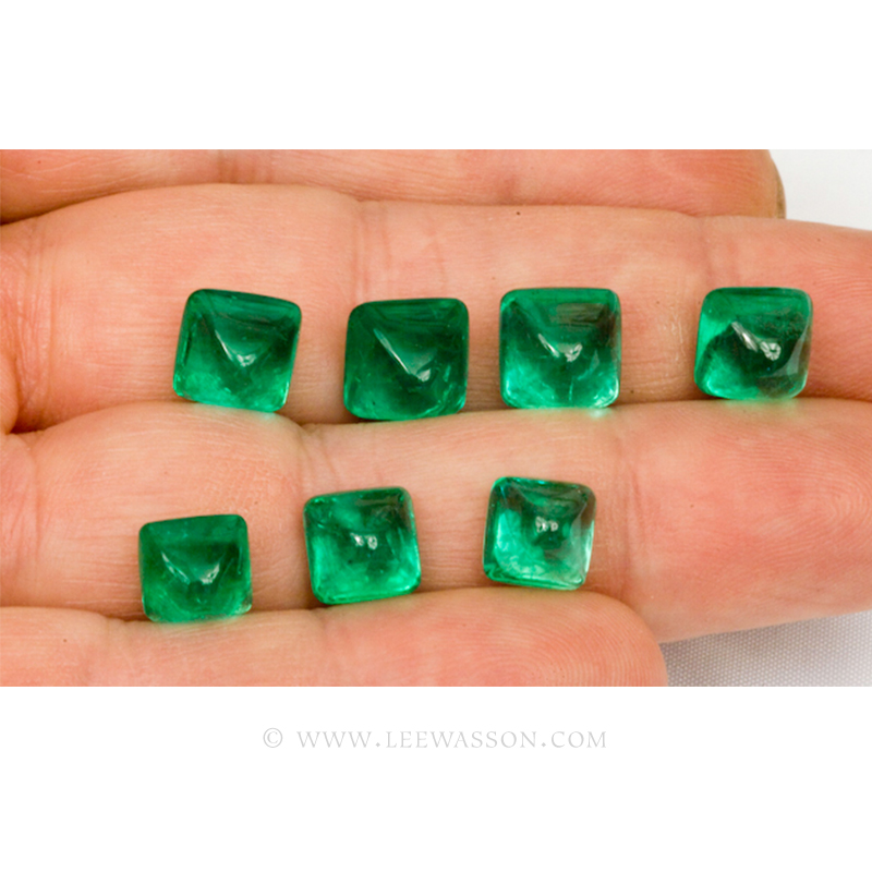 Colombian Emeralds, Sugarloaf cut Emeralds, Cabochon Cut Emeralds - leewasson.com - 10052 -3